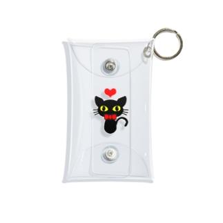 ハートと黒猫 Mini Clear Multipurpose Case