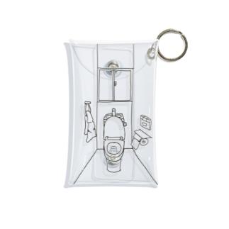 便座が開きっぱなしのトイレの一室 Mini Clear Multipurpose Case