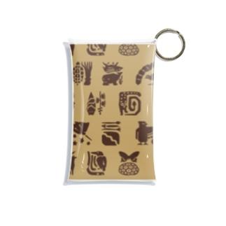 しまのなかま小紋 モカチョコ Mini Clear Multipurpose Case