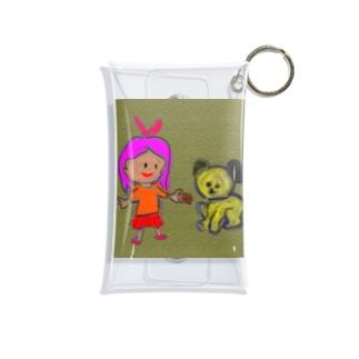 女の子と犬 Mini Clear Multipurpose Case