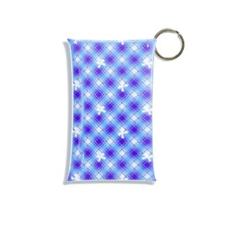 リボン&チェック(ブルー) Mini Clear Multipurpose Case