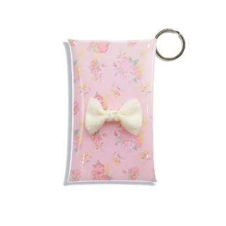 ピンク花柄に白いリボン Mini Clear Multipurpose Case