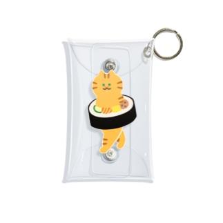 太巻きを自らに巻きつけて運ぶ猫 Mini Clear Multipurpose Case