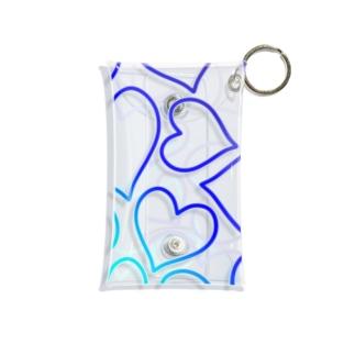 青色のグラデーションのハート Mini Clear Multipurpose Case