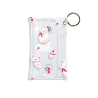 子猫mix チェリー柄 Mini Clear Multipurpose Case