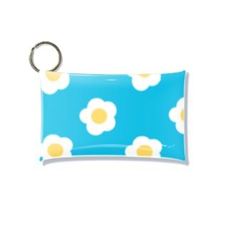 White Flower(ターコイズブルー) Mini Clear Multipurpose Case