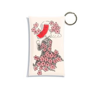 桜に赤短 Mini Clear Multipurpose Case