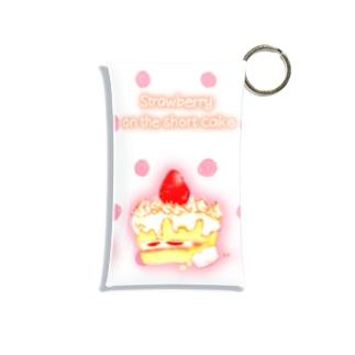 どるちぇ*うさぎの《フード01》*苺のショートケーキ*白ピンクドット Mini Clear Multipurpose Case