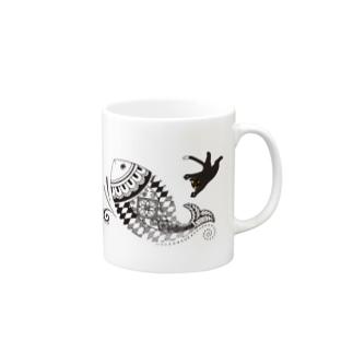 猫とさかな(メヘンディ) Mugs