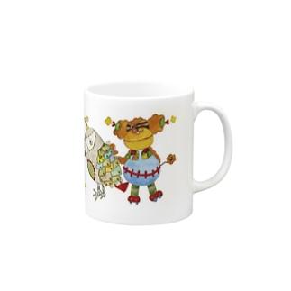 ROBOBO「全員集合!」スチームパンク   猫 犬 鳥 うさぎ Mugs