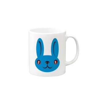 ウサギ blue Mugs