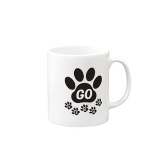 GO VEGAN 肉球2 Mugs