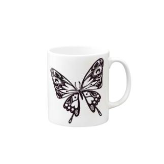極楽蝶(黒) Mugs