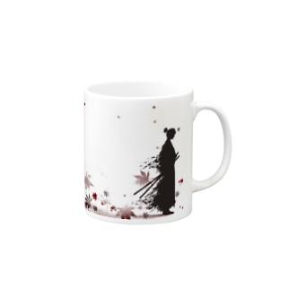 侍と舞う紅葉 Mugs