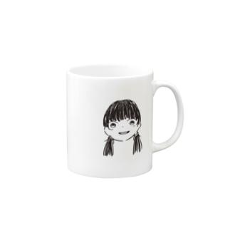 黒髪Girl Mugs