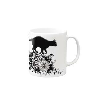 花に乗る猫 マグカップ