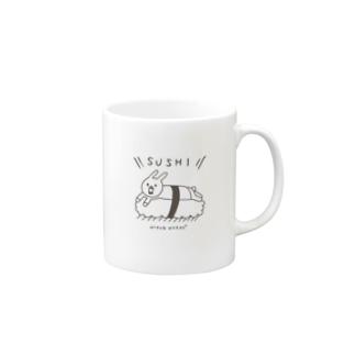 ウサギのウーのSUSHI [黒い字] Mugs