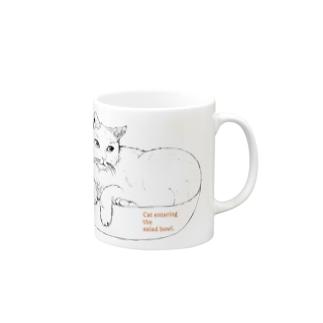 サラダボウルと猫 マグカップ