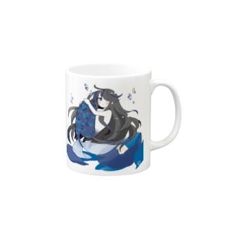 青い椿から生まれた人魚 マグカップ