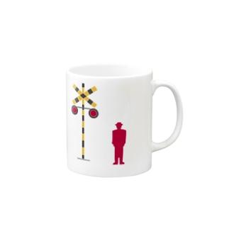 赤信号のトマルさん、踏切を見る Mugs