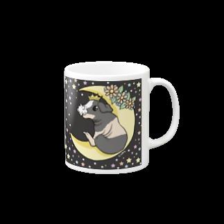 Lichtmuhleの月とモルモット(ゆるかわ×スキニーギニアピッグ) マグカップ