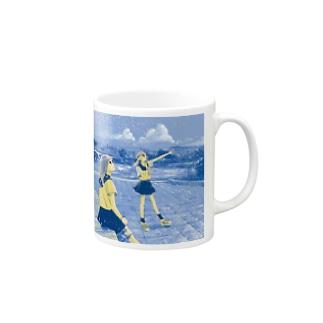 鴨川‐あおの夕方 マグカップ