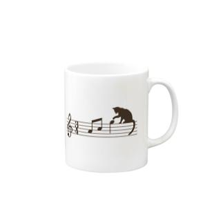 ネコ、音符にイタズラ Mugs