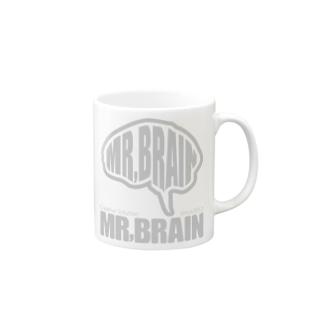 MR,BRAINロゴ:GRAY Mugs
