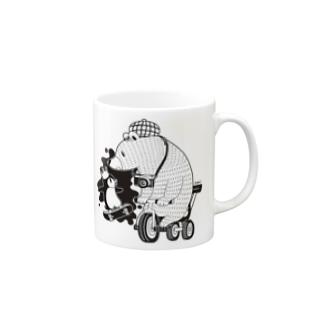 白黒道場-のりもの(両面) マグカップ