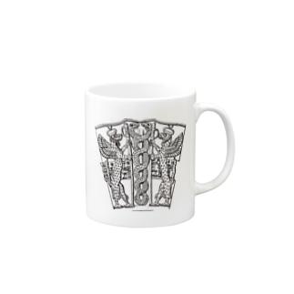 シュメール文明で用いられた2匹の蛇が絡み合うシンボル Mugs
