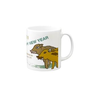 2019亥年の猪のイラスト年賀状イノシシ Mugs