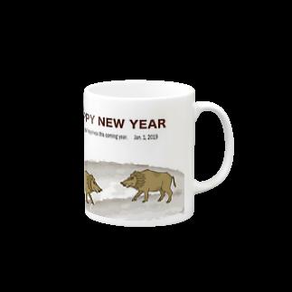 ジルトチッチのデザインボックスの2019亥年の猪のイラスト年賀状イノシシ マグカップ