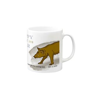 2019亥年の猪のイラスト年賀状イノシシ マグカップ