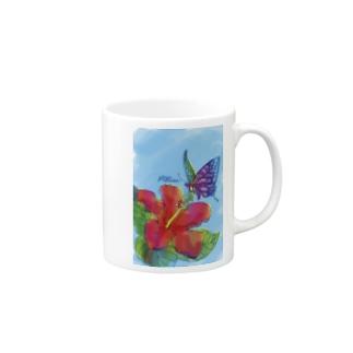 蜜を吸うアゲハ蝶 Mugs