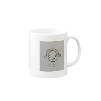 幸せ招くさる Mugs