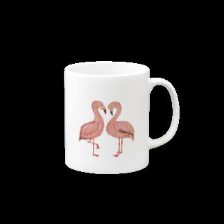 くろすけのハートのフラミンゴ マグカップ