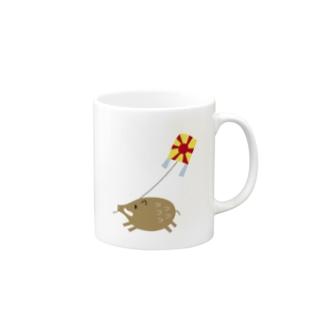 凧あげするイノシシ2 Mugs