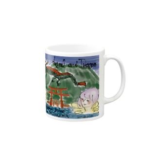 Ang11 エンジェルと龍と宮島の厳島神社 Mugs
