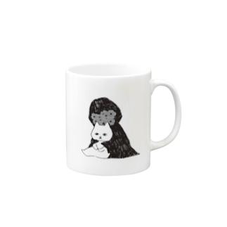 ネコとお花のともだち Mugs