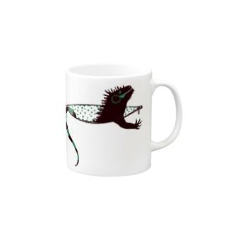 iguana in pocket Mugs
