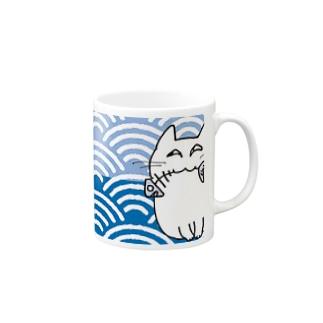 夢見る猫 青海波 Mugs