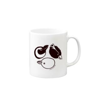ペンペンズモノクロ Mugs