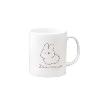 線画うさぎ(pink) Mugs