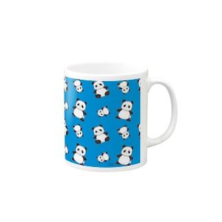 パンダがいっぱい!ブルー Mugs