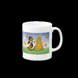 Lily bird(о´∀`о)の仲良し猫さん 英語ロゴ付き Mugs