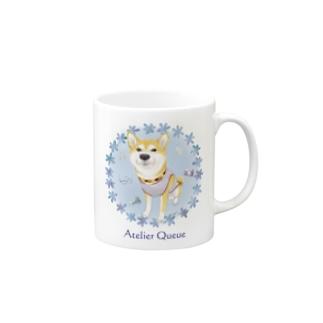 柴犬Ⅳ(花輪・青) Mugs