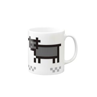 牛のTシャツ屋のpixel cow(black) Mugs