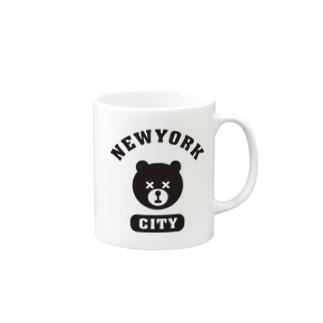 NYC BEAR ニューヨークシティベアー 熊 カレッジロゴ Mugs