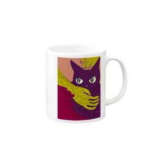 春の手になでられる猫 Mugs