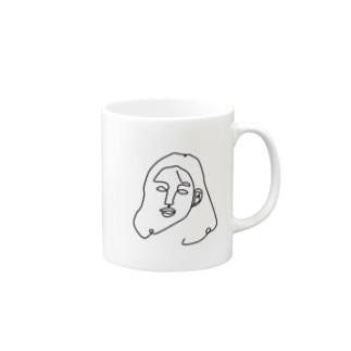 一筆書き woman Mugs